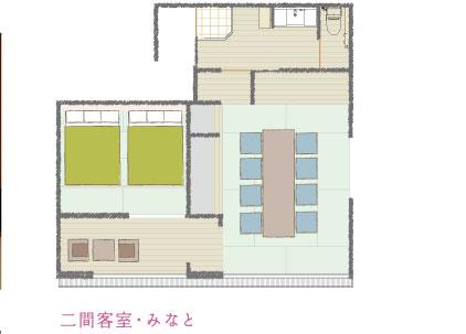 潮騒の宿ふじま:二間客室「みなと」の見取り図