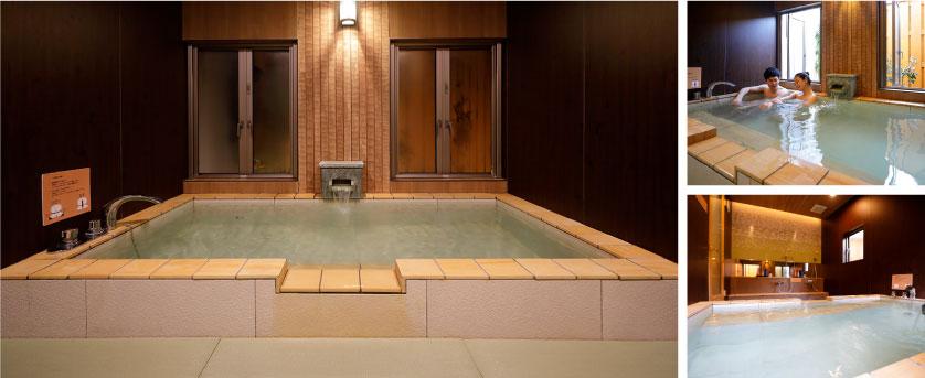 潮騒の宿ふじま;楠の湯 木張りの浴室